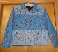 Woman's sz XL - Denim Blue JACKET - Blew Bayou - Overall embroidery & beads