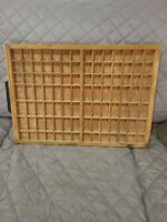 Vintage Wooden Printers Drawer Letterpress Set Tray Shadow Box 22 1/2 in x 16 in