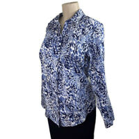 Chico's Shirt size 1(M) blue white animal print womens long sleeve top