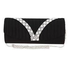 Womens Wallet Black Pleated with Rhinestone Design Evening Handbag Girls Clutch
