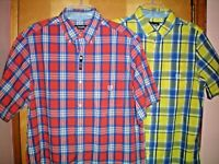NWT NEW mens plaid CHAPS classic easy care s/s casual shirt $55 retail