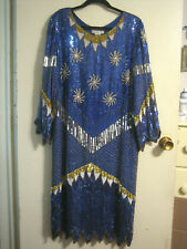 New listing Sz Xl,Royal Blue,Gold, Silver, Wht, Total Sequined Evening Dress, 100% Pure Silk