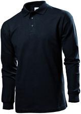 Stedman Classics Men Adult 3 Button Neck Tape Long Sleeve Ringspun Polo Shirt Heather L