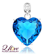 Silver HUGE Mystical Heart Sky Blue Topaz Gems Necklace Pendants