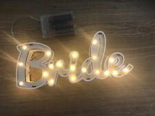 Light Up Wooden Bride Sign Table Decoration White