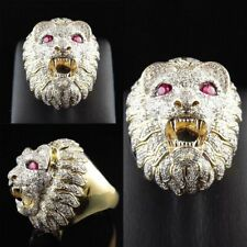 Biker Men's Vintage Rings Gold Stainless Steel Lion Head Ring Band Size 6-10