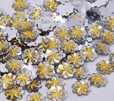 50 Gold Silver Sew on Acrylic Flower Diamante Crystal Gems Rhinestone Bling 15mm
