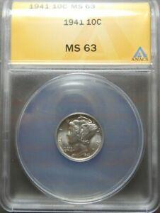 1941 Mercury Dime  10c  ANACS  MS63