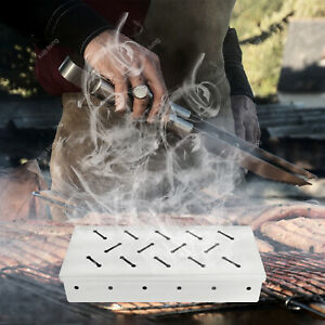 1X Stainless Steel BBQ Smoker Box Charcoal Gas Grill Barbecue Smoke Meat Tool UK