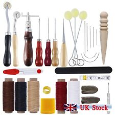 Leather Craft Punch Tools Kit Stitching Carving Working Sewing Saddle Groover UK