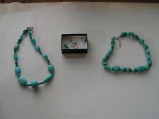 COSTUME JEWELERY TURQUOISE STONE NECKLACES & EARRINGS - NEW - NEVER WORN