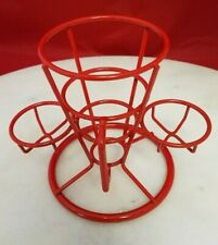 Single Cone French Fry Red Wire Holder Basket w/Condiment Cup Holders -Brand New