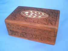 VINTAGE Detailed Design Flower Hand Carved Wooden Jewelry Box w/ Inlaid Ivory