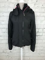 SUPERDRY - Black Pink Fleece Lined Hooded Windcheater - Womens - Size XS