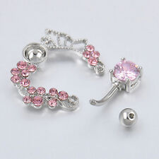 Pink butterfly belly ring top down navel piercing reverse 14G flower LEC,