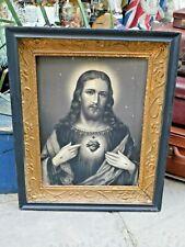 More details for religious sacred heart jesus print in antique frame