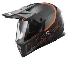 Casco Helmet LS2 MX436 PIONEER ELEMENT Nero Grigio Arancio Opaco Matt Orange