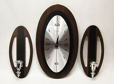 Waltham Mid Century Wall Clock with Sconces