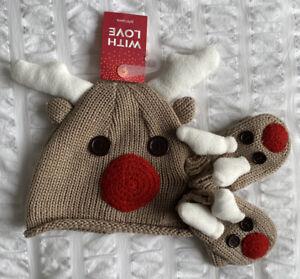 BRAND NEW Baby JOHN LEWIS Reeindeer Knitted Hat & Mitten Set Brown 6-12 BNWT