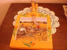 planche /plateau à fromage en bois et céramique-signé-