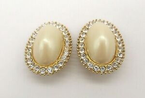 """1 3/8"""" Oval Gold Plated Pearlized High Domed Cabochon Rhinestone Clip Earrings"""