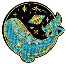 ⫸ WHALE STARRY NIGHT SKY Embroidered Iron-on Patch Environment Sea Life NEW D6