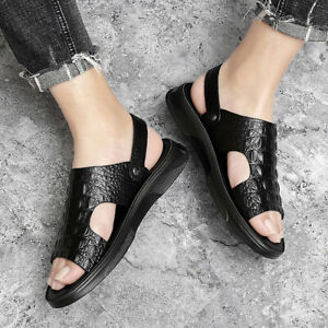 Mens Alligator Pattern Slip On Flats Faux Leather Beach Sandals Shoes Slippers