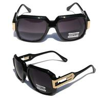 Gloss Black Retro Hipster SunGlasses Gold Metal Accents  black Lens Square