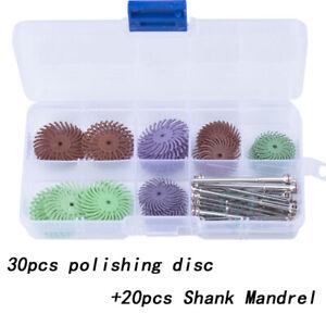30X Dental Composite Spiral Finishing Polishing Disc Wheel + 20X Shank Mandrel