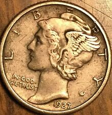 1927 UNITED STATES MERCURY SILVER DIME 10 CENTS COIN