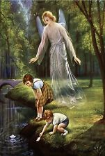 VINTAGE GUARDIAN ANGEL CHILDREN POND PAPER BOATS SPIRITUAL CANVAS ART PRINT BIG