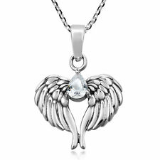 Wings of an Angel Sterling Silver and Cubic Zirconia Pendant Necklace