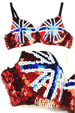 Sexy Union Jack Sequin Detail Push up Bra Clubwear Glamor Dancer Burlesque S