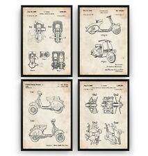 Vespa Scooter Set Of 4 Patent Prints - Moped Mod Poster Art Gift - Unframed