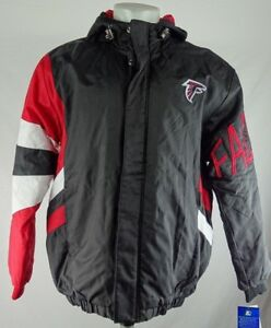 Atlanta Falcons NFL Men's Starter Black & Red Full Zip/ Snap Hooded Jacket