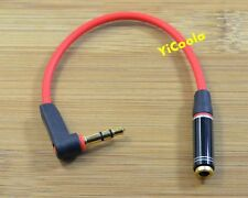 Red Short Right Angle 3.5mm Male to Female Speaker Stereo Audio Extension Cable