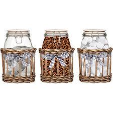 Set Of 3 Country Kitchen Tea Coffee Sugar Food Glass Storage Pot Jars 1000ml