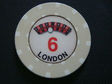 The Golden Nugget Casino London Roulette Chip - Cream - Table Number 6