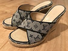 LOUIS VUITTON Mini Monogram Ibiza Open Toe Mules 35.5 Bleu Nuit