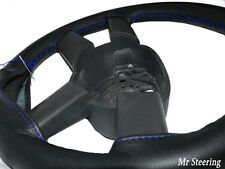 FOR FIAT DUCATO MK3 06-14 REAL BLACK LEATHER STEERING WHEEL COVER BLUE STITCHING