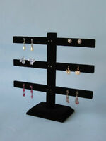 "3 Tier 10""H x 10""W  BLACK VELVET EARRING JEWELRY DISPLAY STAND 252-3B"