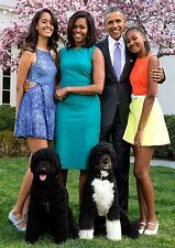 President Barack Obama Family PHOTO, Michelle, Girls, Dogs Portrait White House
