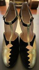 1920's Original Flapper Heels Shoes Black Velvet Gold Art Deco