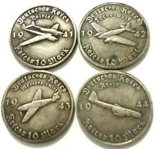 EXONUMIA GERMAN MEDALS ~/ CATEGORY EXONUMIA /~ SET OF SILVERPLATED TOKENS 4 PCs