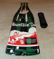 "VINTAGE MOUNTAIN DEW HILLBILLY +GUN BOTTLE DIE-CUT 27"" PORCELAIN METAL SODA SIGN"