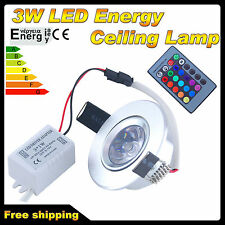 3W RGB Color Changing LED Recessed Ceiling Lamp Down Light +IR Remote Control