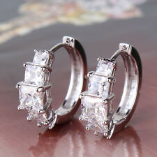 HUCHE Square Clear Sapphire Silver White Gold Filled Women Hoop Earrings Studs