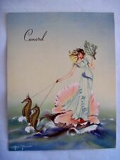 Stunning 1953  Cunard Cruise Line - Luncheon Menu w/ Seahorses and a Clam Shell*