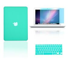 "3 in 1 Rubberized TIFANY BLUE Case fr Macbook White 13"" + Key Cover + LCD Screen"