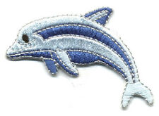 Dolphin - Marine Mammal - Two Tone Blue - Embroidered Iron On Applique Patch